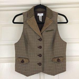 Equestrian tweed herringbone houndstooth vest Loft